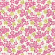 Lewis & Irene Tropicana - 4655 - Pink & Green Blossoms on Cream - A135.3 - Cotton Fabric